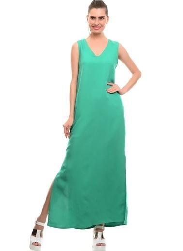 Limon Company Düz Keten Standar Fit Uzun Su I Kadın Elbise Yeşil